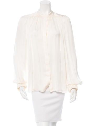Stella McCartney Silk Button-Up Top None