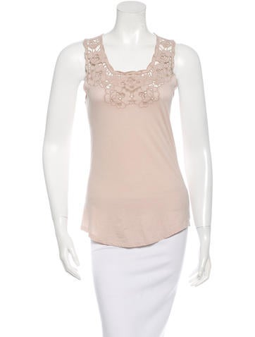 Stella McCartney Lace-Accented Racerback Top None
