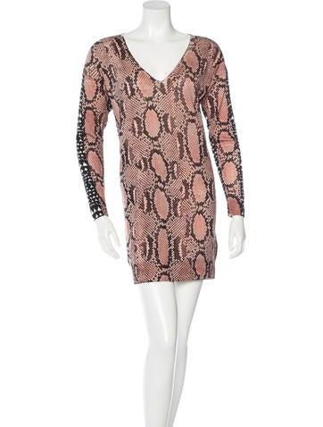 Stella McCartney Wool Snakeskin & Heart-Print Dress None