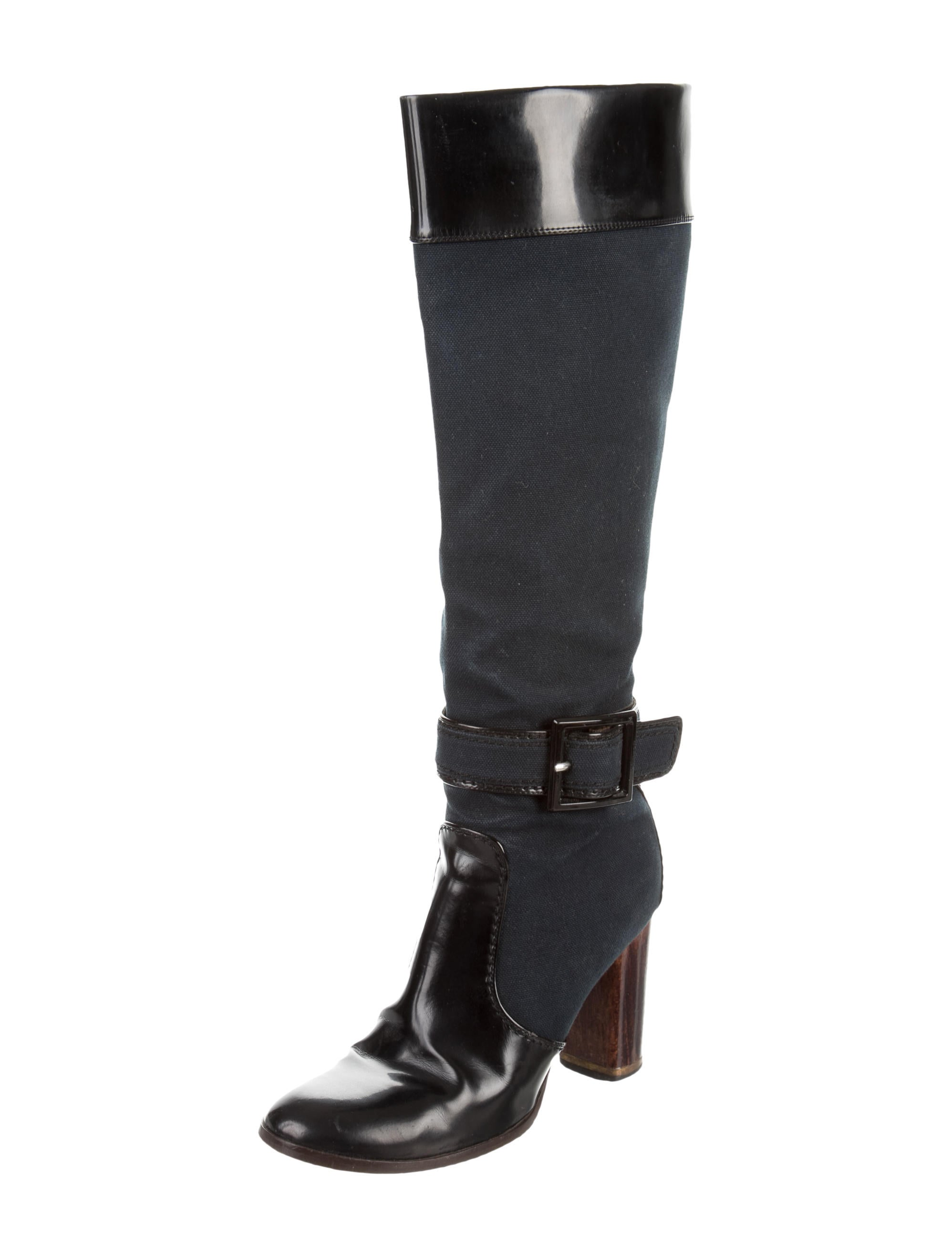 stella mccartney canvas knee high boots shoes stl42569