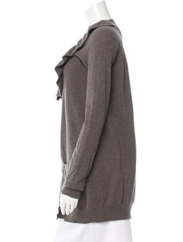 Ruffle-Accented Wool Cardigan