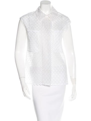 Stella McCartney Eyelet Button-Up Top None