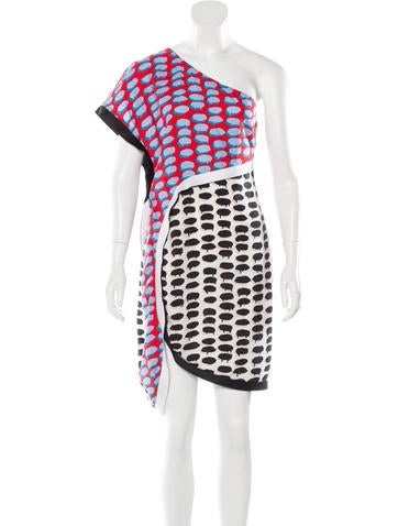 Stella McCartney One-Shoulder Printed Dress None