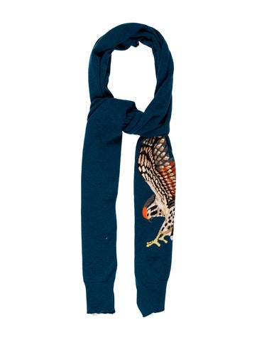 Stella McCartney Bird-Accented Knit Scarf None