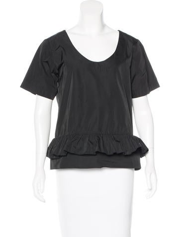 Stella McCartney Oversize Ruffle-Trimmed Top None