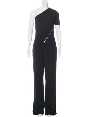Stella McCartney Zip-Accented One-Shoulder Jumpsuit None