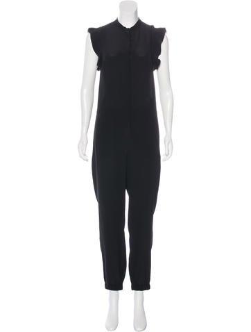 Stella McCartney Ruffle-Accented Silk Jumpsuit None