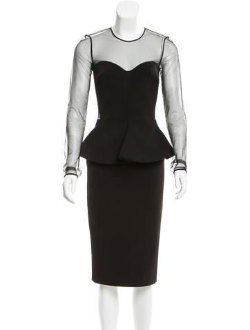 Stella McCartney Mesh-Accented Peplum Dress