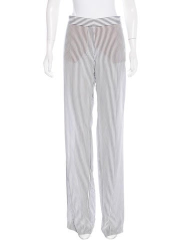 Stella McCartney Silk Pinstripe Wide-Leg Pants w/ Tags None
