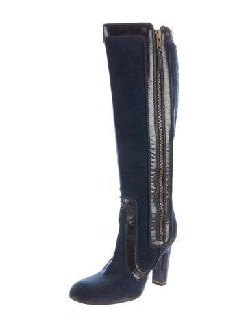 Velvet Knee-High Boots