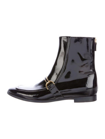 Vegan Patent Leather Ankle Boots