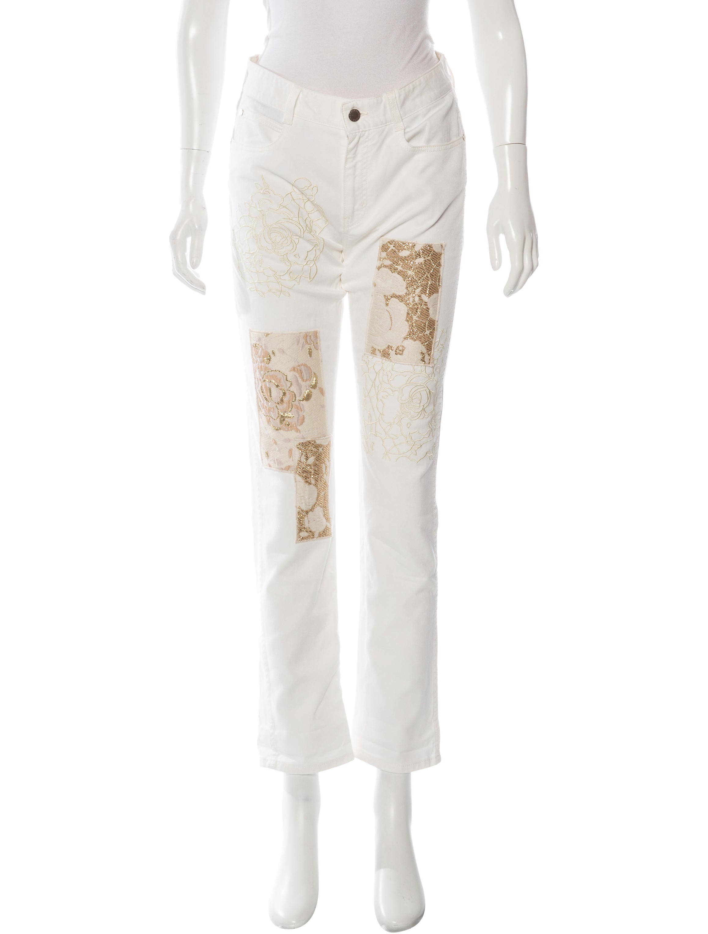 Stella mccartney embroidered straight leg jeans w tags