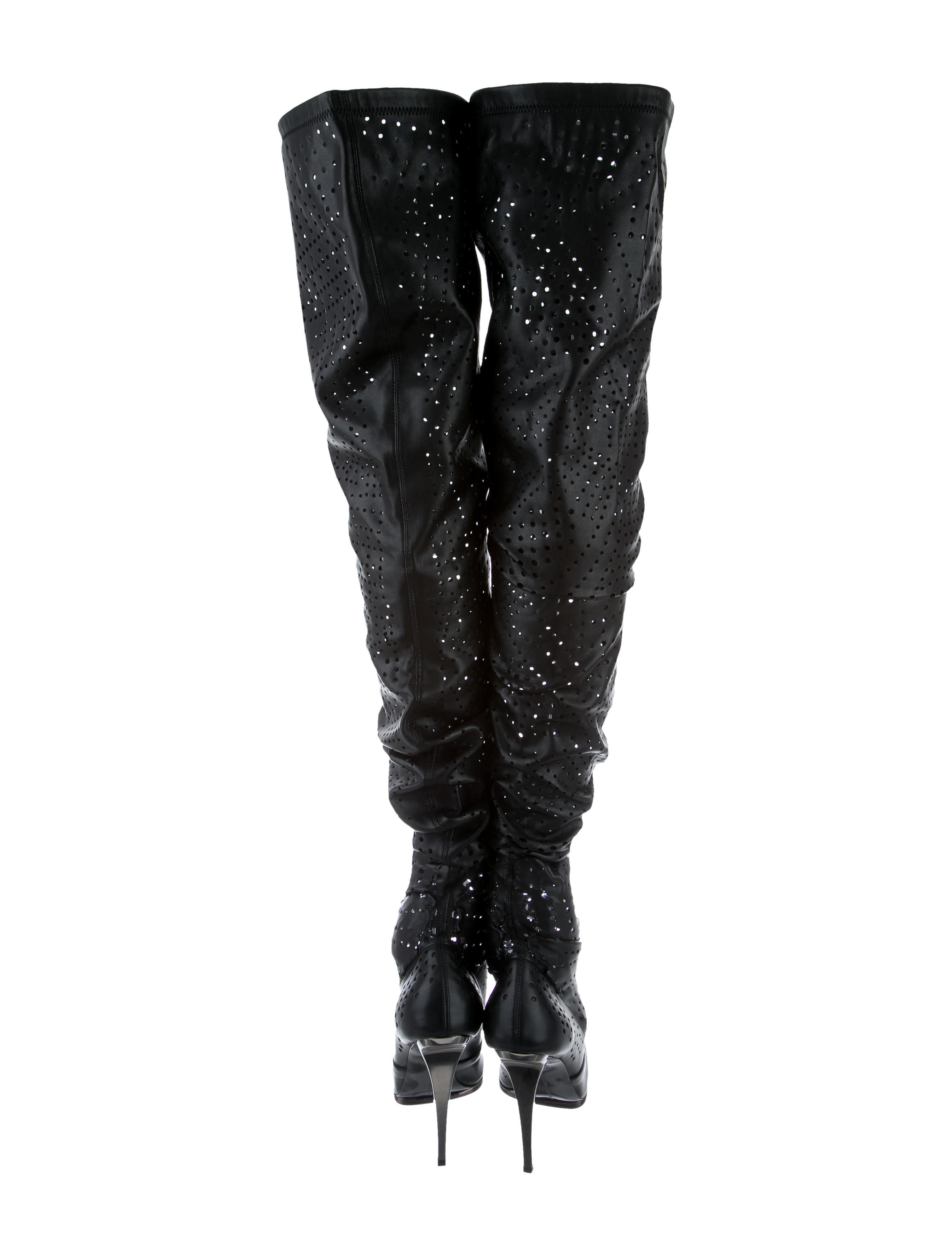stella mccartney perforated the knee boots shoes