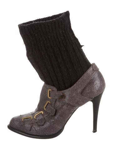 Stella McCartney Vegan Leather Knit-Trimmed Ankle Boots None
