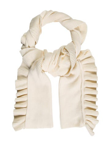 Stella McCartney Ruffle-Trimmed Virgin Wool Scarf w/ Tags None