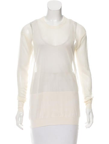 Stella McCartney Wool & Silk Semi-Sheer Sweater None
