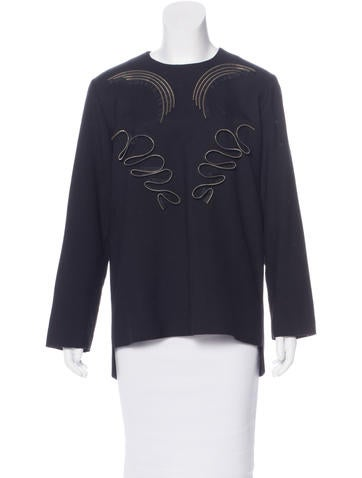 Stella McCartney Wool Appliqué-Accented Top None