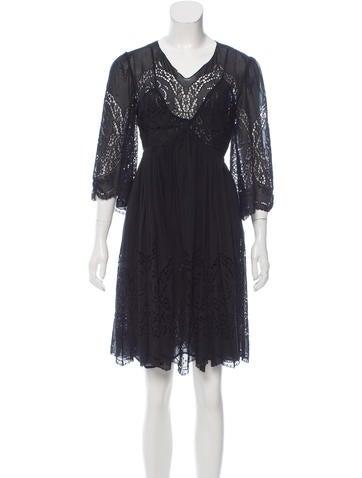 Stella McCartney Broderie Anglaise Silk Dress None