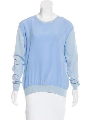 Stella McCartney Silk-Paneled Virgin Wool Sweater None