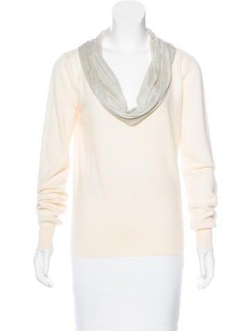 Stella McCartney Silk-Trimmed Cashmere Sweater None