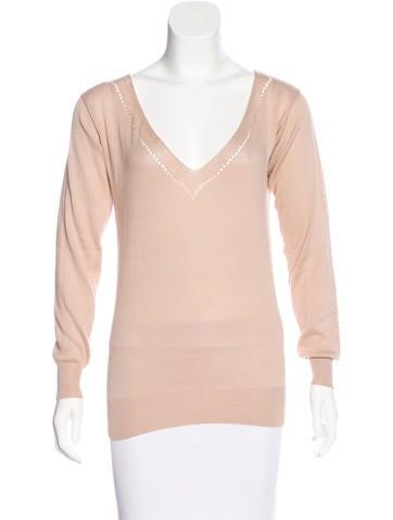 Stella McCartney Silk-Blend V-Neck Sweater None