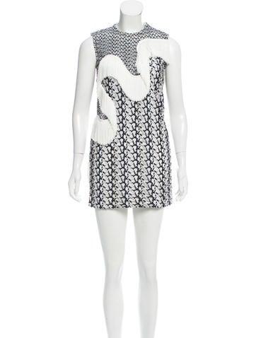 Stella McCartney Embroidered Fringe Dress None