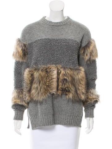Stella McCartney 2017 Vegan Fur-Trimmed Sweater None