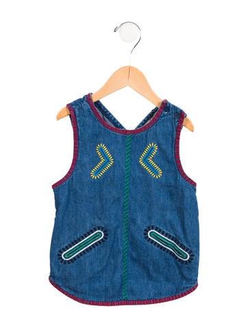 Stella McCartney Girls' Embroidered Denim Top None