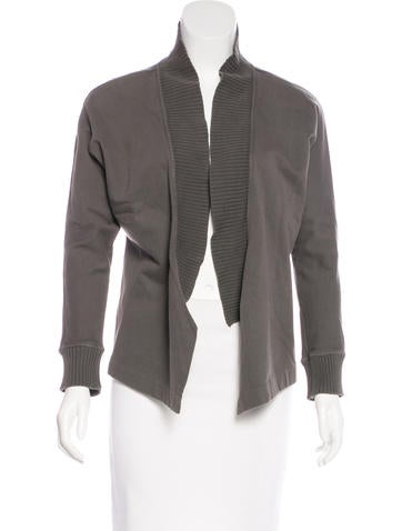 Stella McCartney Woven Rib Knit-Trimmed Jacket None