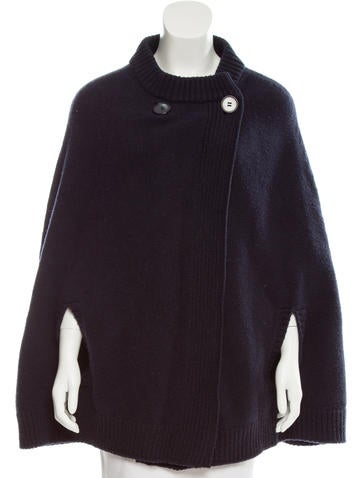Stella McCartney Wool Rib Knit-Trimmed Poncho None