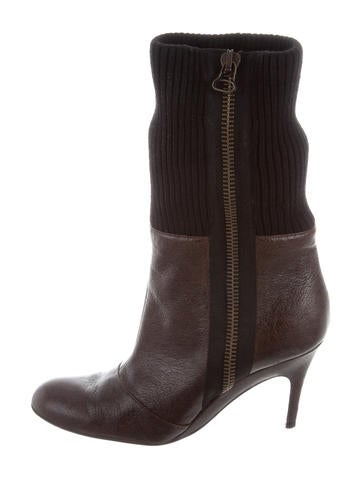 Stella McCartney Knit-Trimmed Embossed Booties None