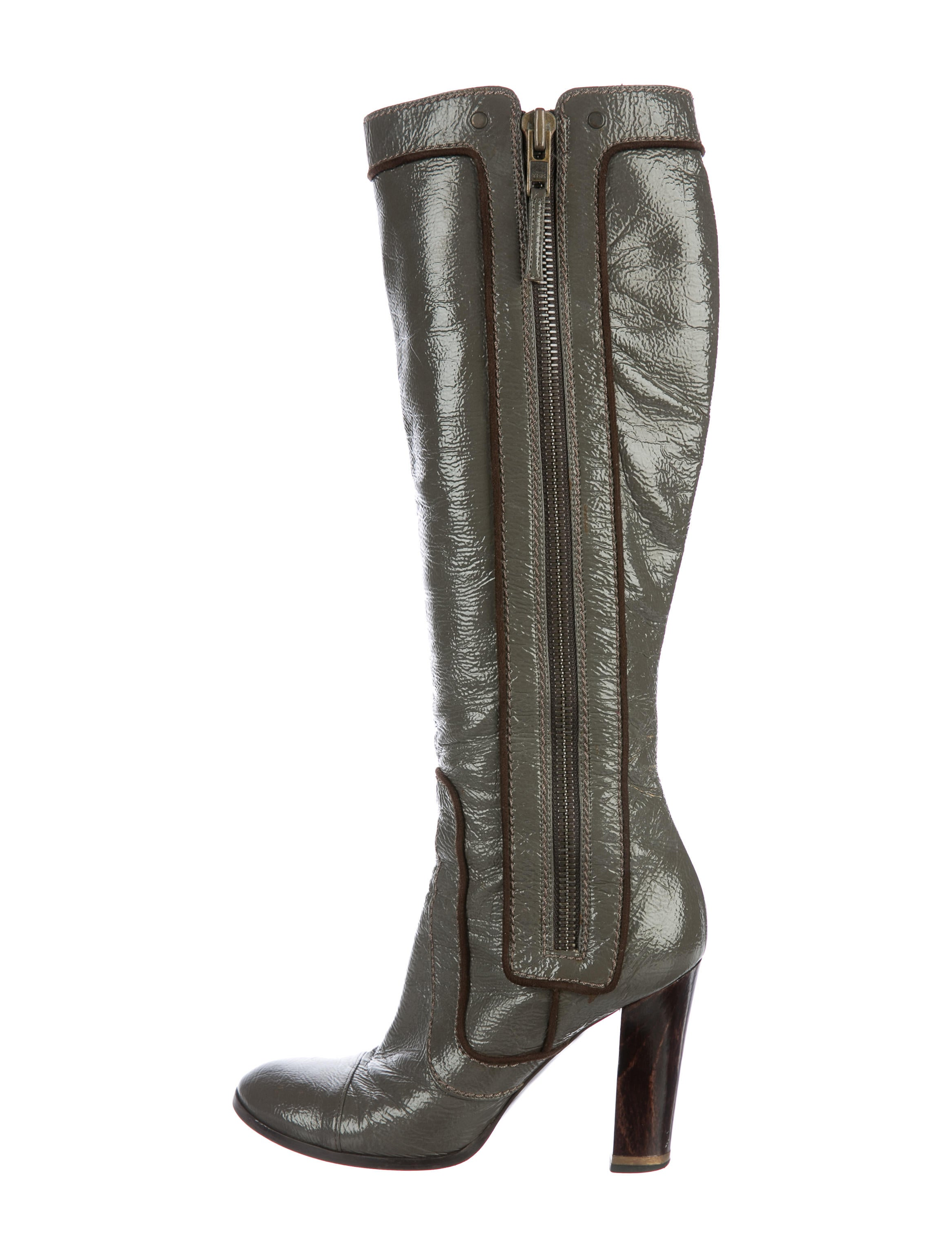 Stella McCartney Patent Knee-High Boots cheap sale huge surprise YmbT5u2Ugc