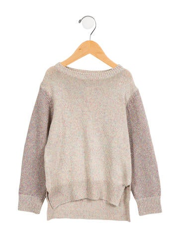 Stella McCartney Girls' Metallic-Accented High-Low Sweater w/ Tags None