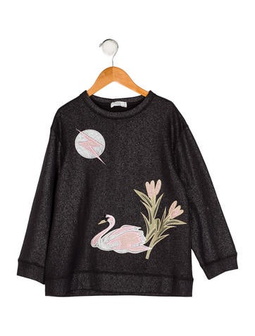 Girls' Embroidered Knit Sweater