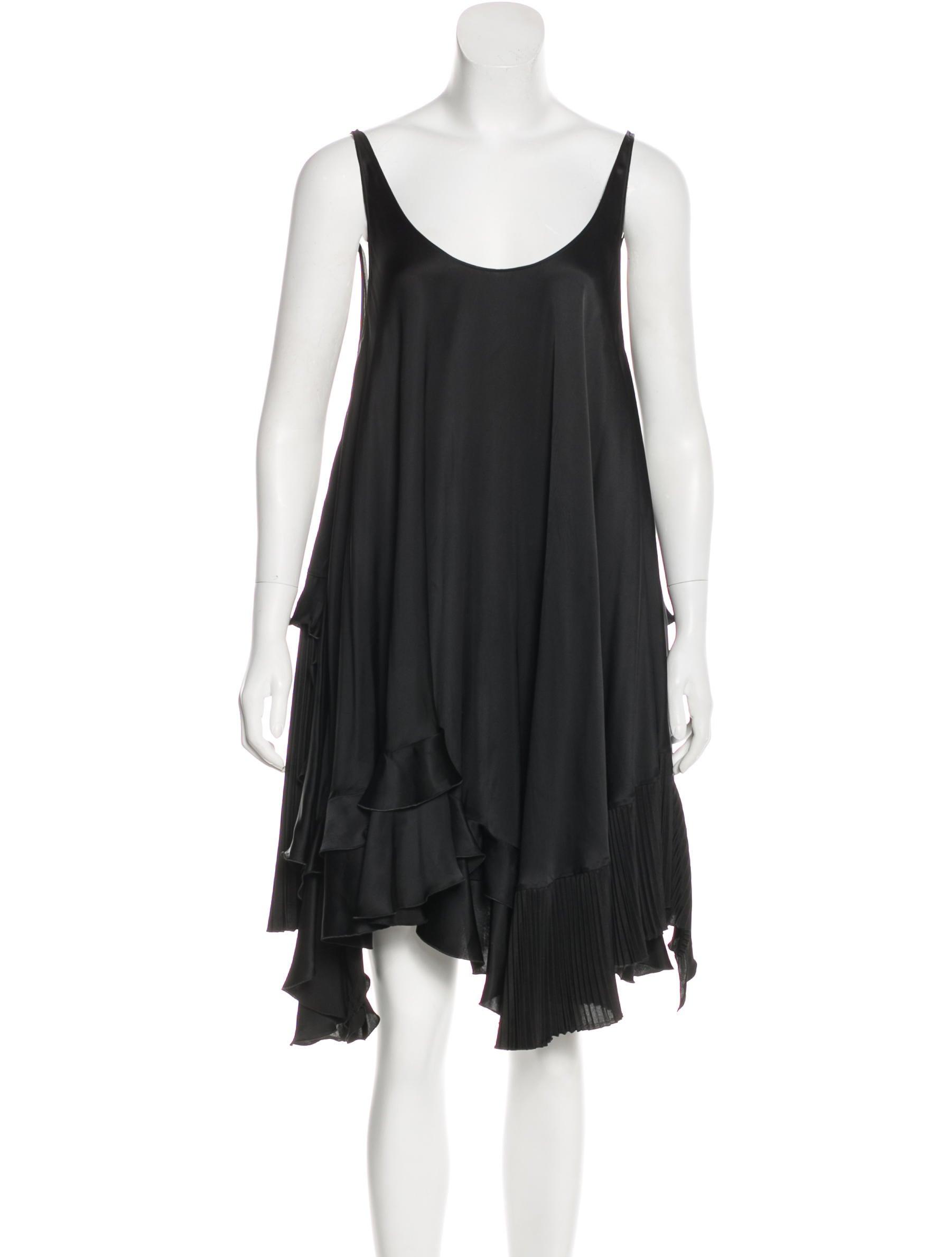 63a8dab88d5 Stella McCartney Satin Asymmetrical Dress - Clothing - STL65127 ...