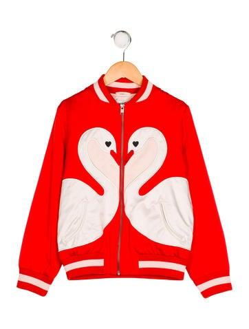 Stella McCartney Girls' Willow Swan Bomber Jacket None