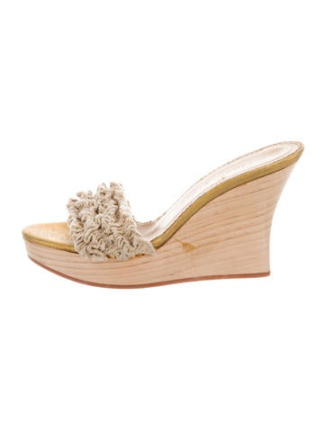 Stella McCartney Ruffle-Trimmed Slide Wedges buy cheap low price fee shipping cheap sale extremely sale factory outlet v1Rj9
