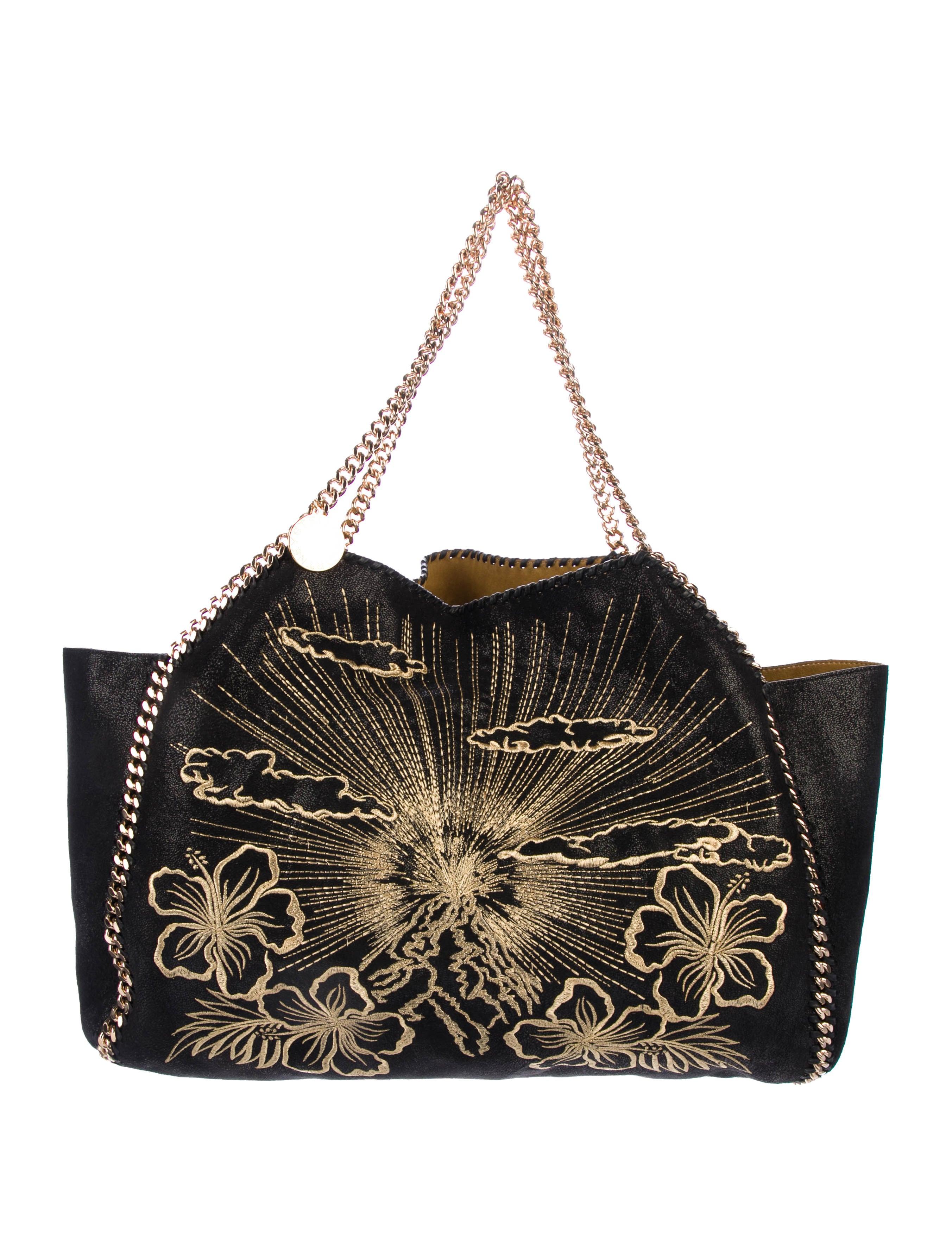 266009ef4130 Stella McCartney Spring 2018 Black Volcano Gold Embroidery Tote Bag ...