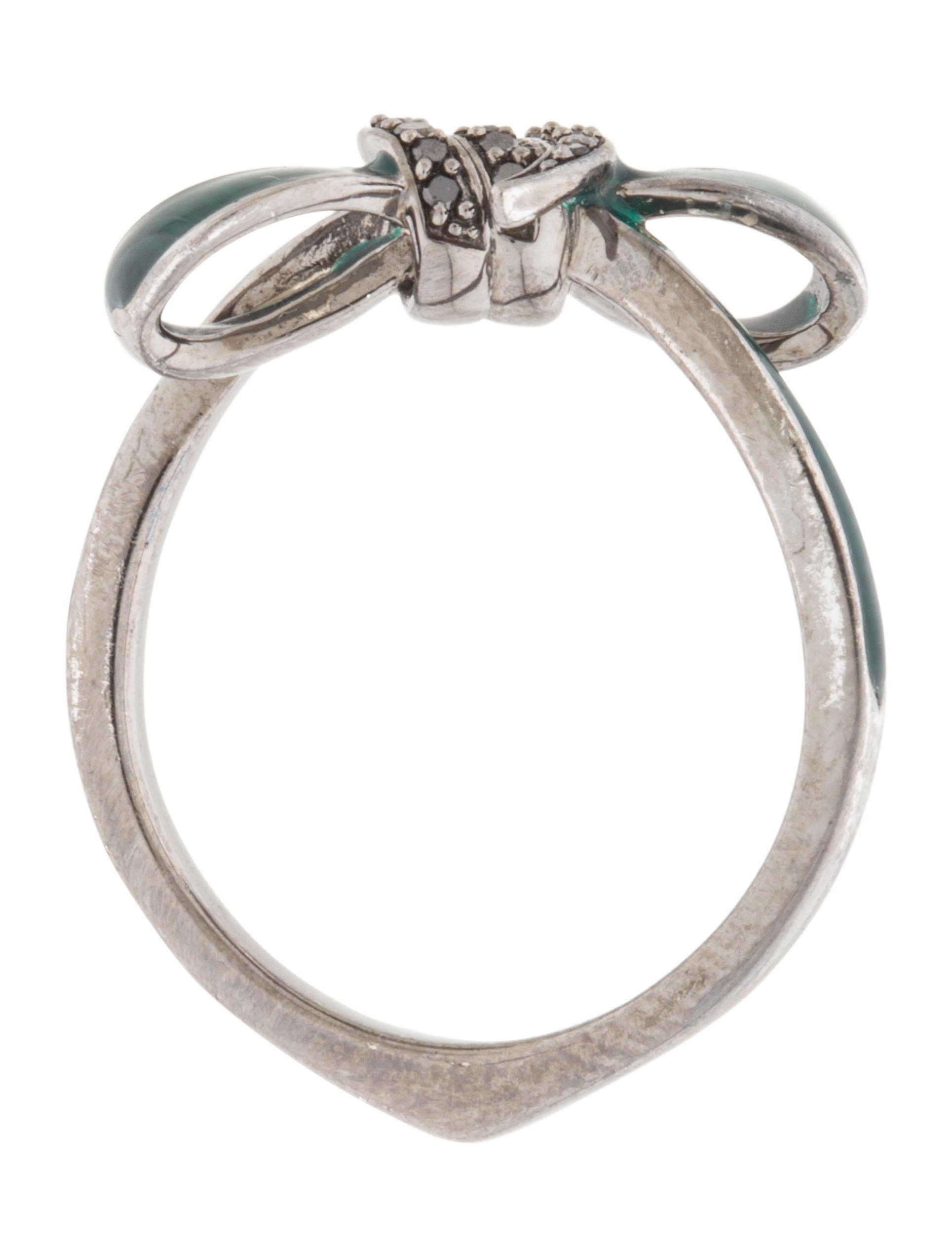 Stephen Webster Enamel & Black Diamond Bow Ring Rings STW