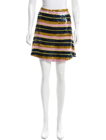 Suno Striped Sequined Skirt None