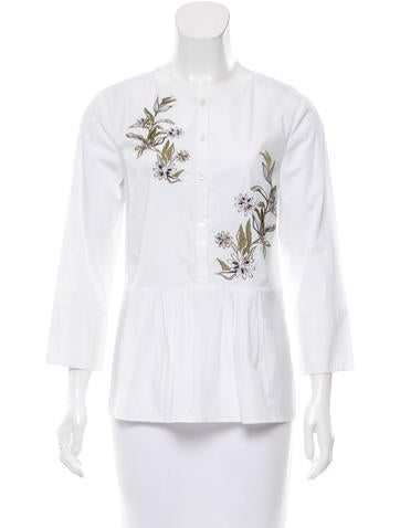 Suno Embroidered Button-Up Top