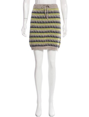 Suno Patterned Knit Skirt None