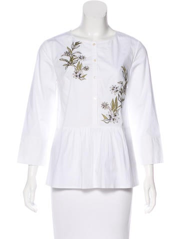 Suno Embroidered Button-Up Top None