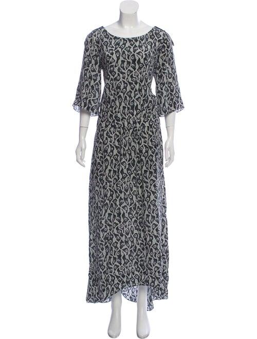 Suno Printed Maxi Dress Green