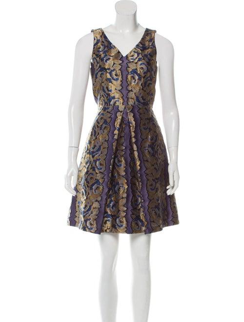 Suno Jacquard Mini Dress Blue