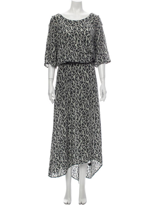 Suno Silk Long Dress Green