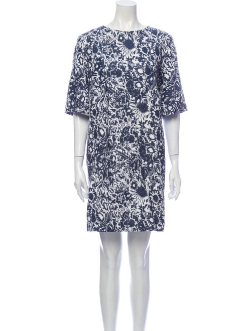 Suno Floral Print Mini Dress Blue