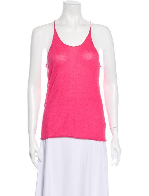 Superfine Cashmere Scoop Neck Top Pink