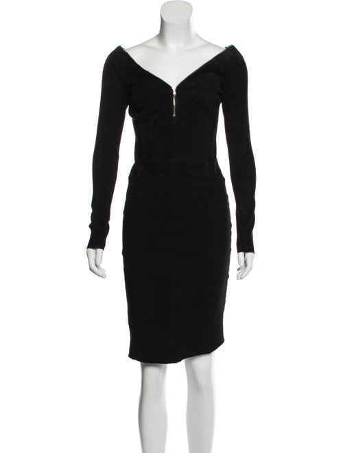 Susan Bender Suede Knee-Length Dress Black