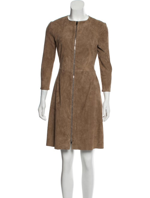 Susan Bender Suede Knee-Length Dress Tan